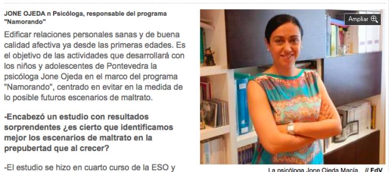 ´El amor romántico es un fraude, nos minimiza como personas´- Faro de Vigo – 12/06/2014