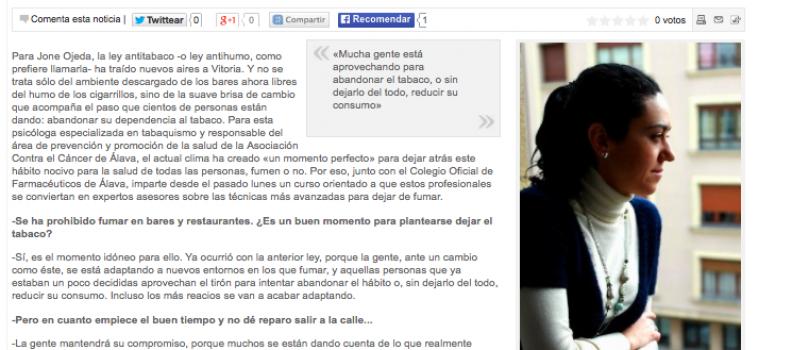 """""""La gente se está rebelando, no quiere depender del tabaco"""" – El Correo – 27-01-2011"""